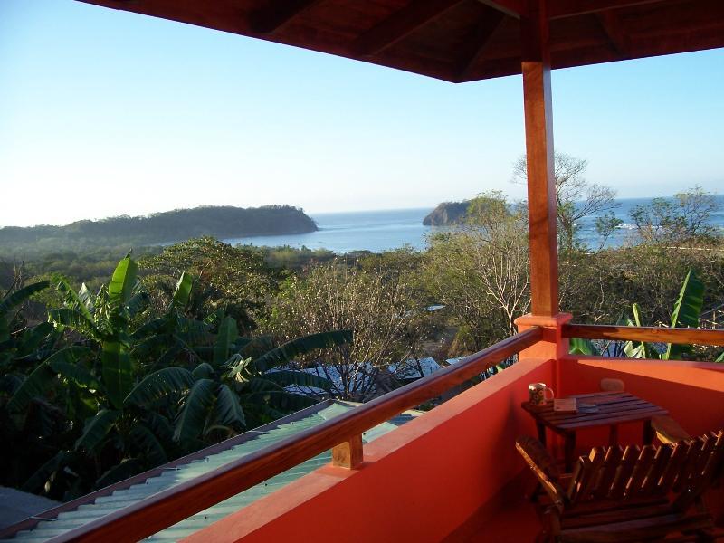 View of Samara Bay from private M. bedroom terrace. - Ocean View, Walk to Beach, Pool, AC - Casa Papaya - Playa Samara - rentals