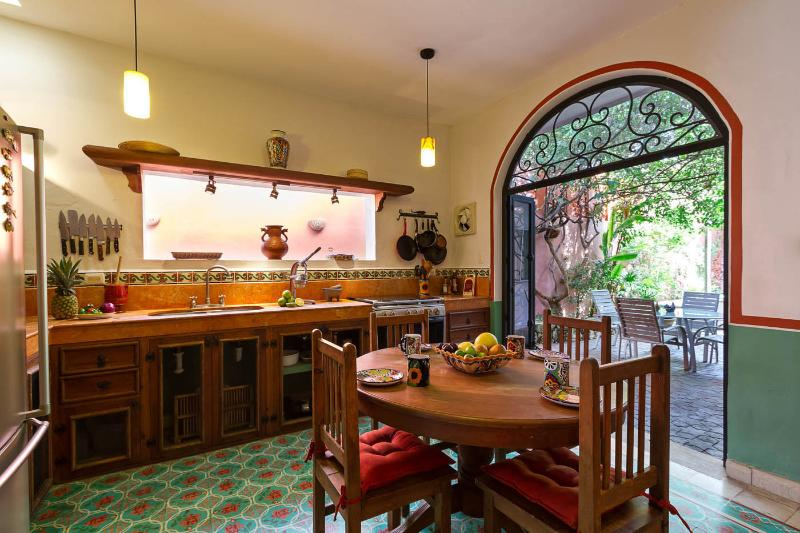Hand-crafted Mexican tile decorating your fully-equipped eat-in kitchen. - A serene garden retreat in heart of central Mérida - Merida - rentals