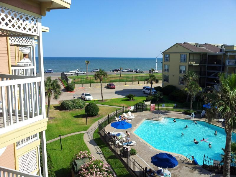 Balcony View - Luxury Gulf Ocean View Condo Rental Heated Pool vc - Galveston - rentals