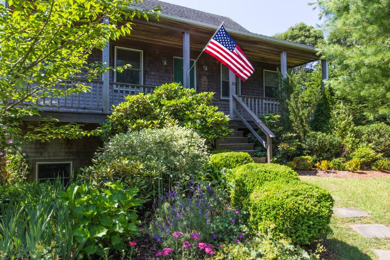 MELAF - Sparrow Lane House,  Newly Furnished,  Sleeps 7, Spacious Deck and Covered Porch both Overlook Lovely Landscaped Yard, AC  in 3 Bedrooms - Image 1 - Edgartown - rentals