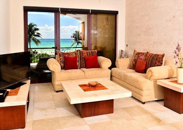 El Faro Coral 204 Playa del Carmen Living Room - Spacious & Luxurious beachfront Playa del Carmen condo (EFC204) - Playa del Carmen - rentals