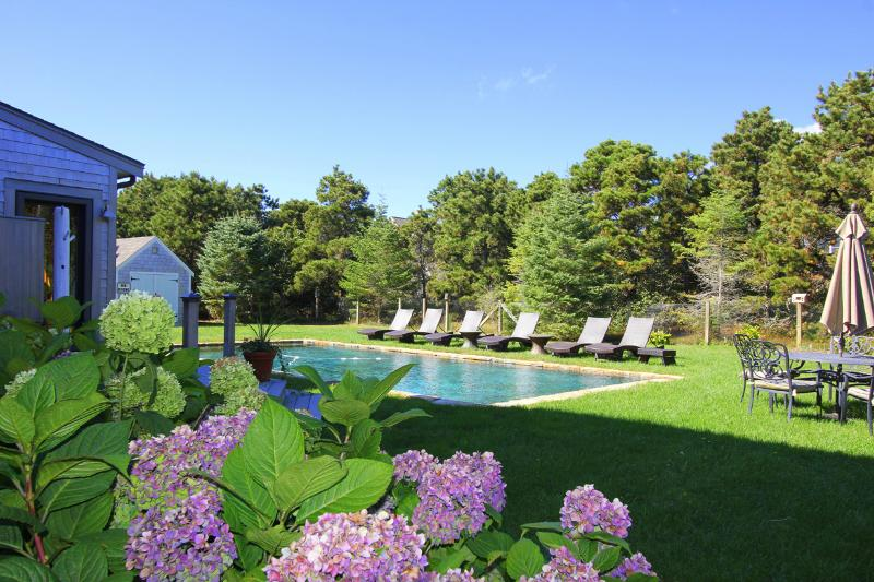 Pool and Yard - TALLA - Katama South Beach, 20 x 40 Heated Gunite  Pool, Walk or Bike to the - Edgartown - rentals