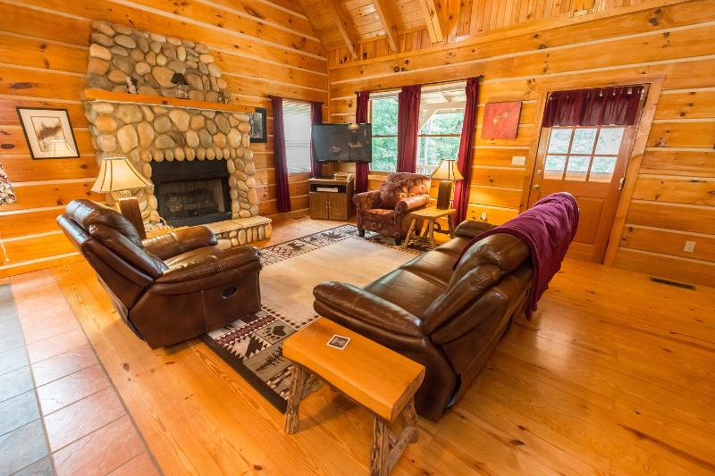 Great Room with gas fireplace, 50 inch plasma TV, 200 Dish channels - Tranquil Glen of Asheville-20 min drive to AVL - Asheville - rentals