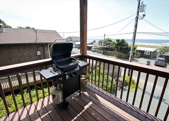 Ocean facing wrap around deck with spectacular ocean and Neahkahnie Mountain views and gas BBQ. - MANZANITA MAGIC ~ MCA# 275 ~ Lower~Elegant Duplex across from the ocean - Manzanita - rentals