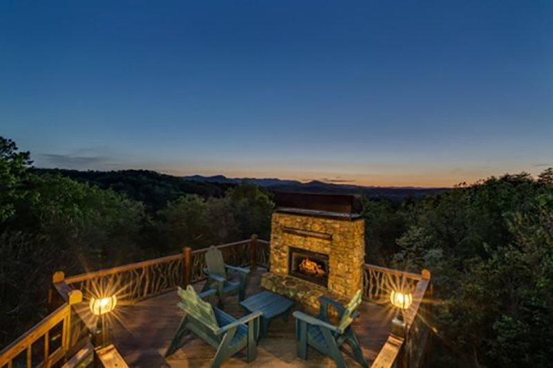 Twilight in the Mountains around this Outdoor Fireplace - North Georgia Luxury Mountain Rental - Blue Ridge - rentals