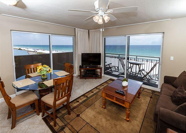 Beautiful views from this 4th floor corner condo - PI 401-Fantastic 2B/2Ba gulf front corner condo!  HDTVs, free Beach Service - Fort Walton Beach - rentals
