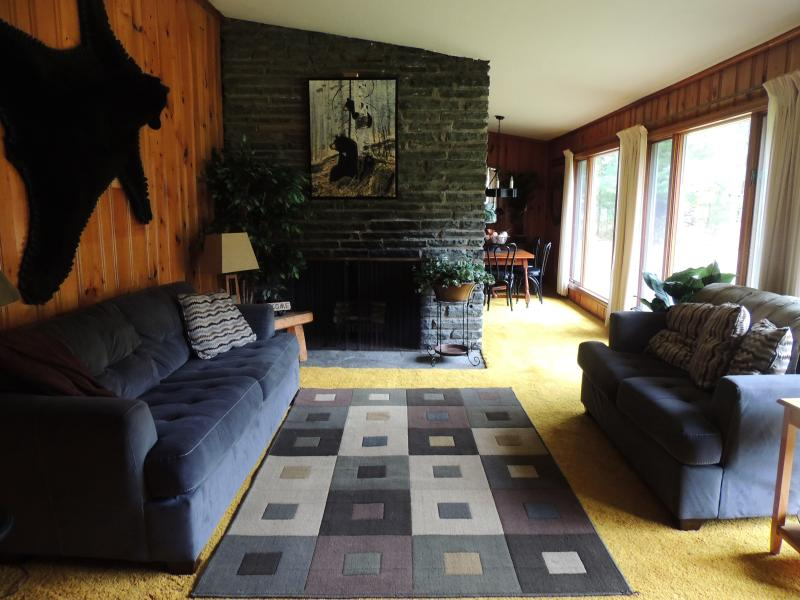 The bright and spacious living room has 3 huge ceiling to floor windows overlooking the wooded yard. - Pocono BLACK BEAR Lodge-Minutes from waterparks! Seconds from Skytop - Skytop - rentals