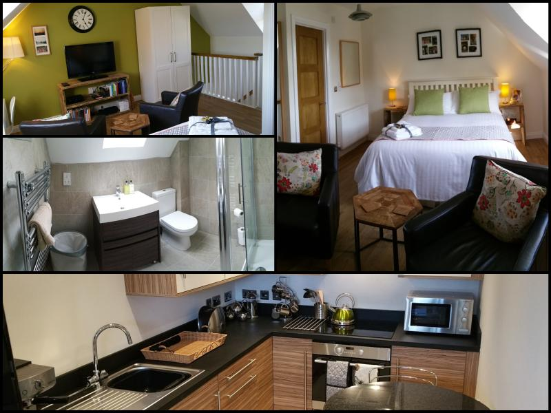 A snap shot of the accommodation.  Kitchen on ground level with stairs up to bed and bathroom. - Bradley Stoke Apartment - Bradley Stoke - rentals