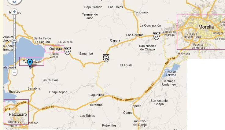 location of town of Tzintzuntzan, where the cottage is located with respect to Morelia and Patzcuaro - Eclipse House / Casa Eclipse - Tzintzuntzan - rentals