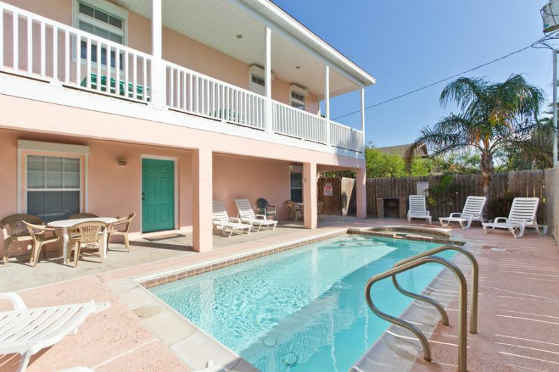 A sparkling pool is heated for winter vacations and a hot tub provides year-round enjoyment.  A built-in BBQ pit is ideal for outdoor grilling. A gas grill is also on the property. In the up coming few months gas will be the only grill available. - 113 E. Constellation - South Padre Island - rentals