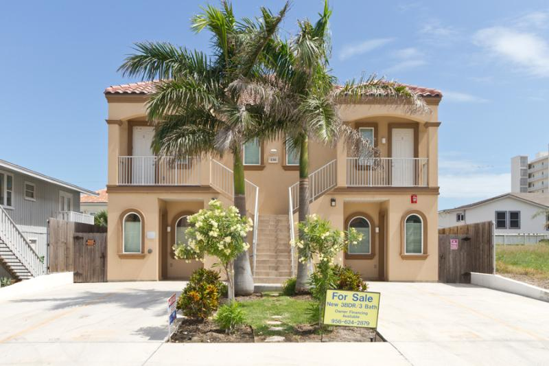 Street view of fourplex - 130 E. Campeche #1 - South Padre Island - rentals