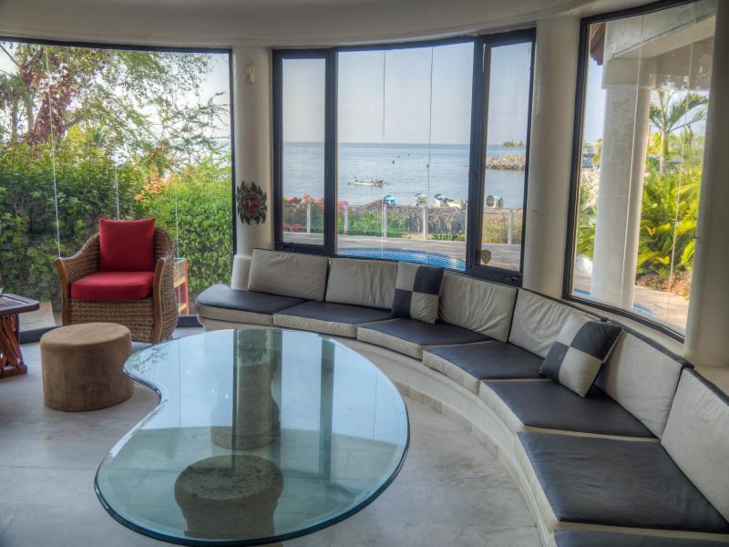 Living/Great Room Overlooking Private Pool/Beach/Ocean/Marina - Beachfront/Marina Side Villa with Private Pool - Puerto Vallarta - rentals