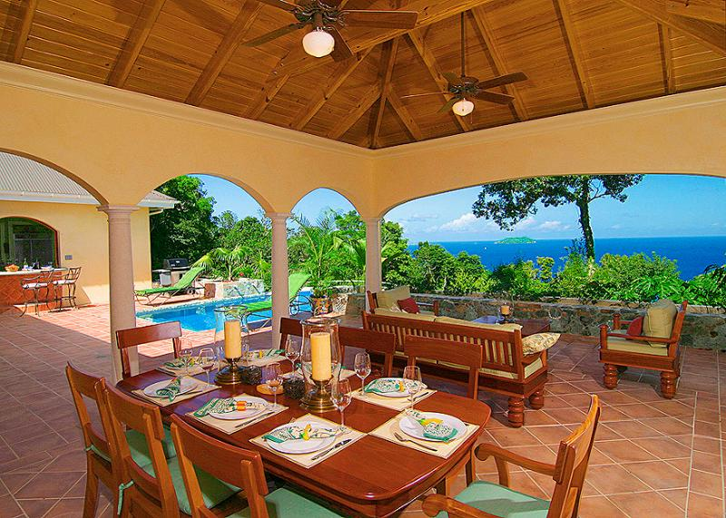 The Peace and Plenty lanai offers a majestic setting to enjoy St. John's Caribbean beauty! - Villa Peace & Plenty on St. John, VI's Northshore - Virgin Islands National Park - rentals