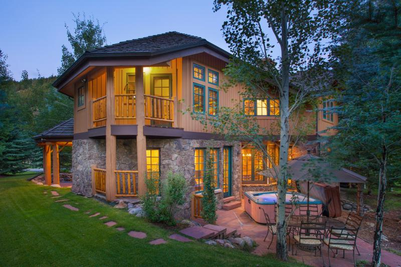 View facing south, of House and Patio with private hot tub - Exclusive SF Home inside Beaver Creek Resort! - Beaver Creek - rentals