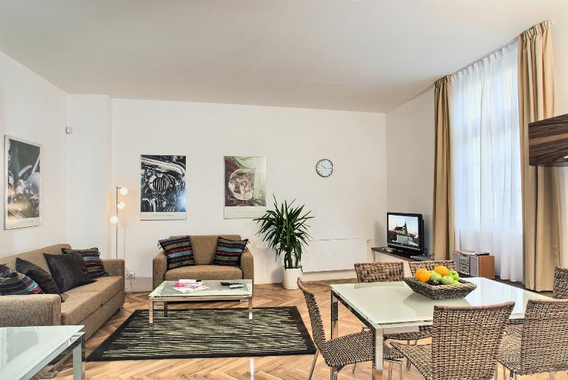 Cozy living area with dining seating - Heart Of Prague - Two Story 2bdr Karlova Residence - Prague - rentals