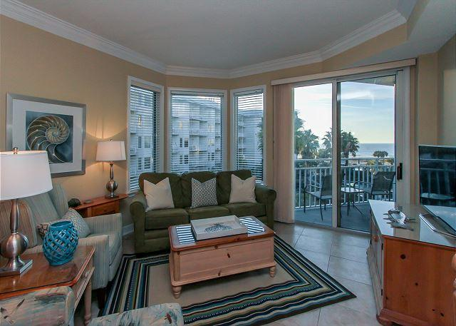 Living Area - 1303 SeaCrest - 3rd Floor - Gorgeous Ocean Views & Walk to Shopping & Dining - Hilton Head - rentals