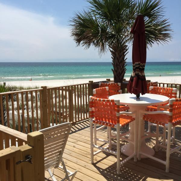 Seating for 4 Bar high as to seee SURF Rolling In/also with corner BAR seating area watch SUNSET - End Villa REAL Deal Beach front walk out door to b - Panama City Beach - rentals