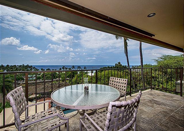 Spacious lanai with amazing ocean view! - KBV 304 Top Floor Condo: Huge Oceanview, Elevators, Beach Walking Distance! - Kailua-Kona - rentals