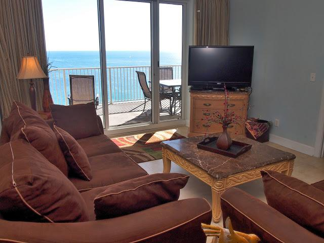 Ocean Reef #2001 - Living area with amazing view of the beach! - Stunning 4 Bedroom; Gulf Front At Ocean Reef! - Panama City Beach - rentals