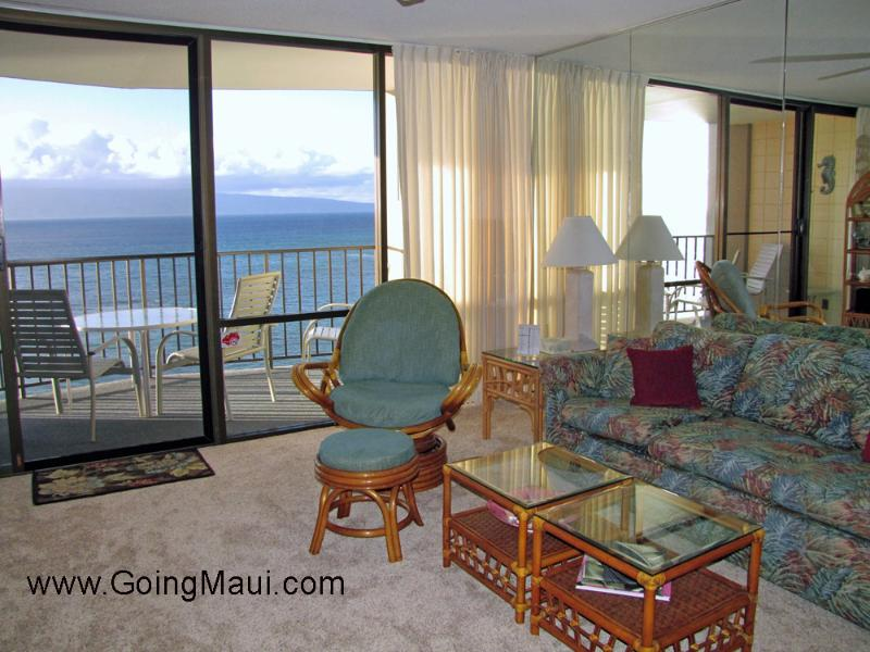 Living room looking out at the ocean and island of Molokai - Direct Oceanfront Valley Isle Resort 1009 - Lahaina - rentals