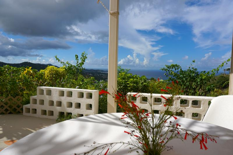 entrance deck with the view of North Shore and St Thomas - Mountain Top Private Retreat - studio with a view - Christiansted - rentals
