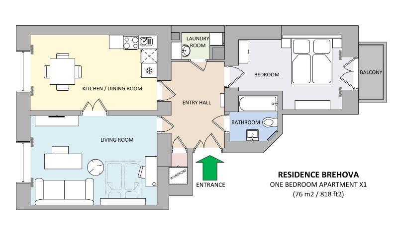 Apartment floorplan - Jewish Town - Executive 1bdr | Brehova Residence - Prague - rentals