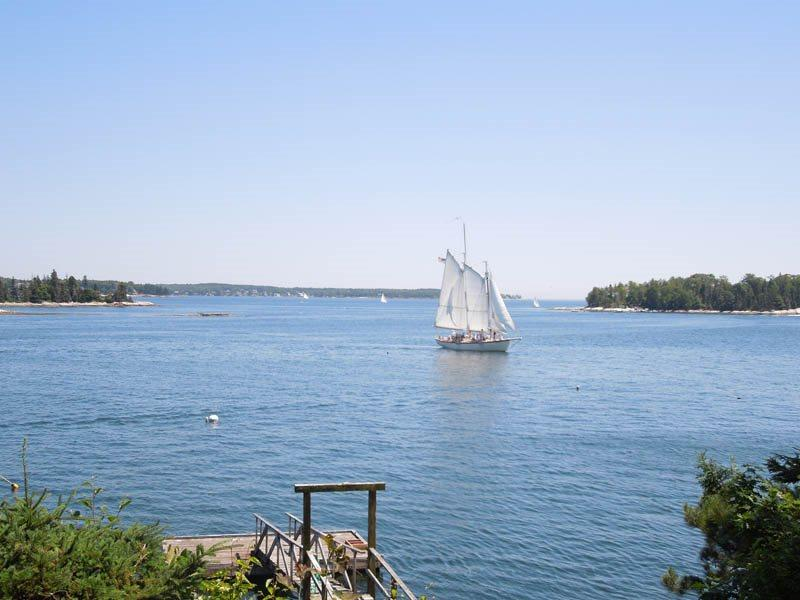 Sailboats from the local Windjammers sail by Pine Cliffs Docks daily - PINE CLIFF DWELLER| SOUTHPORT ISLAND | AMAZING OCEAN VIEWS| PRIVATE DOCK & FLOAT| COVERED & OPEN DECKS | ISLAND LIVING - Boothbay - rentals