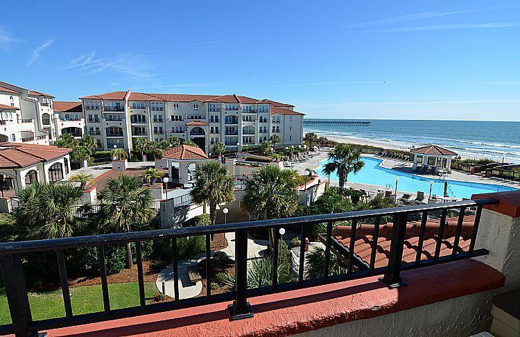Balcony Area W/ Pool/Ocean Views - 309-A Villa Capriani - Gorgeous Views, Pools, Hot Tubs, Restaurant, Beach Access - North Topsail Beach - rentals