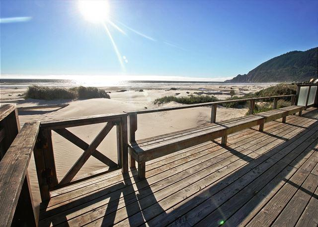 Large ocean facing wrap around deck, picnic table, charcoal BBQ and built-in bench seats - WAVE WALKER ~ MCA# 366 ~ Classic beach front home with spectacular views! - Manzanita - rentals