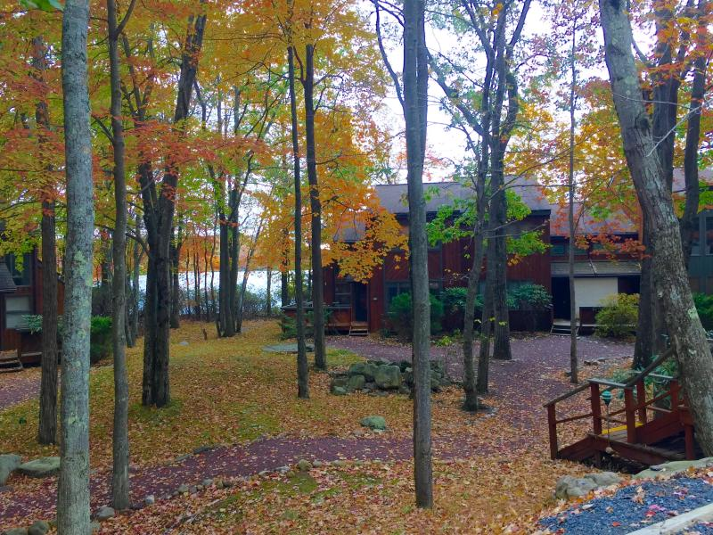 Fall foliage surrounds this  lakefront townhome at Lake Harmony, 2 mins.  from Big Boulder skiing! - OMG the View! Spectacular LAKEFRONT @ Big Boulder! - Lake Harmony - rentals