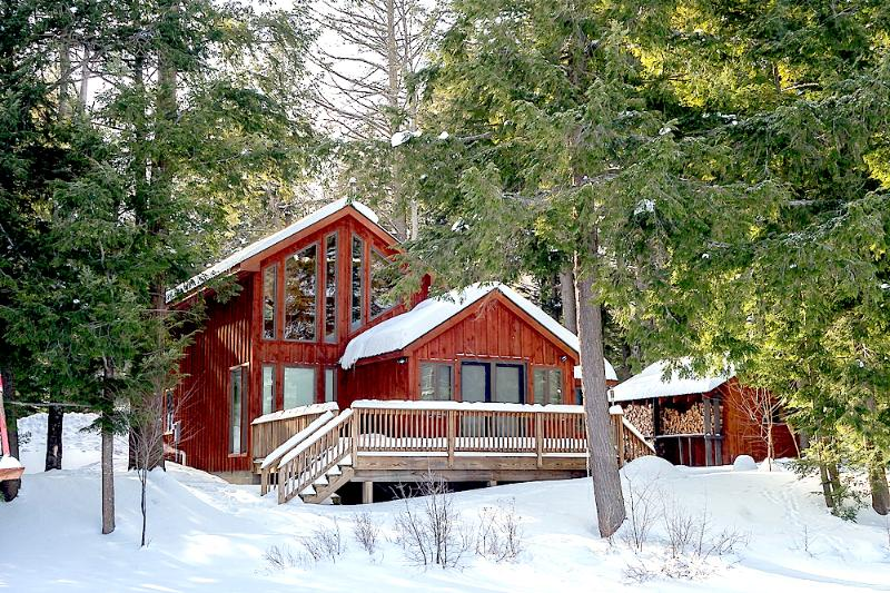 Winter - shed and sauna on right, lake out front - Private Lakefront Cabin, Sauna, Snowshoes and Views! - Wells - rentals