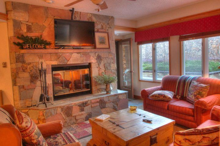 Living Room Stone Fireplace - - The Charter 2 Bedroom - Beaver Creek Village - Beaver Creek - rentals