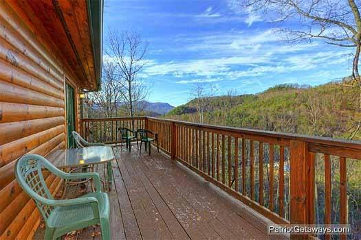 Rear Deck with Seating at Pine Splendor - PINE SPLENDOR - Pigeon Forge - rentals