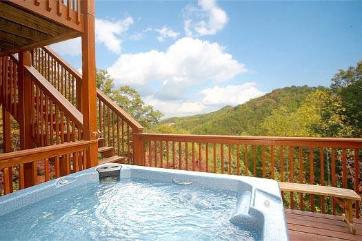 First Floor Deck with Jacuzzi at Mountain Spirit - MOUNTAIN SPIRIT - Pigeon Forge - rentals