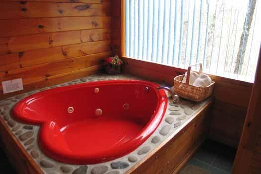 Red Heart Shaped Jacuzzi Tub at Just Us - JUST US - Pigeon Forge - rentals