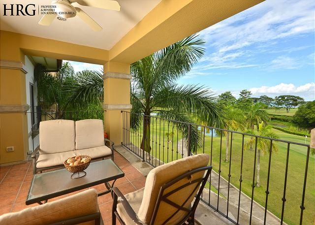 Balcony with view of the Golf Course! - Your Dream Vacation Condo w/Ocean View, Concierge, Daily Cleaning at Los Sueñ - Herradura - rentals