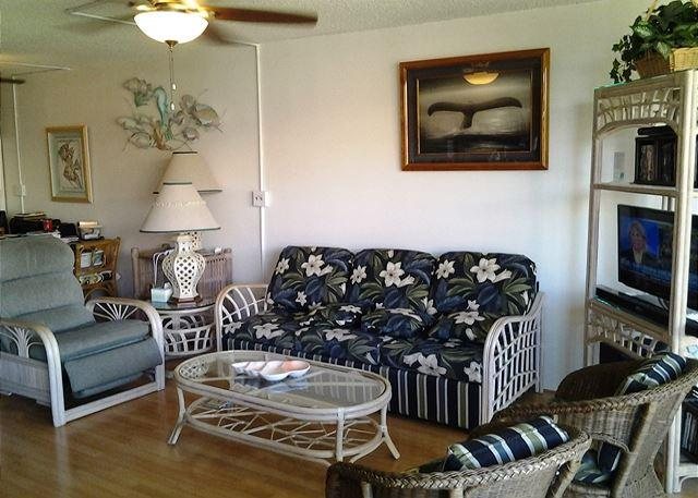 Living Room - Maui Sunset 401B  Remodeled with full kitchen and partial ocean view. - Kihei - rentals