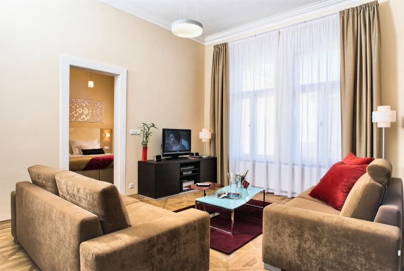 Cozy living area with comfortable seating and Smart TV - Old Town - Executive 2bedroom | Karolina Residence - Prague - rentals