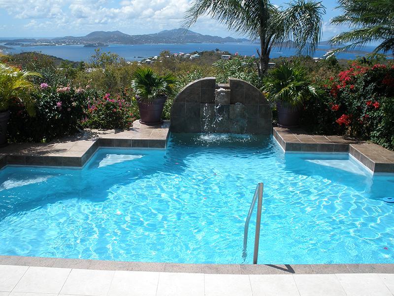 Waterfall pool overlooking the Caribbean Sea - Villa Hibiscus - Saint John - rentals