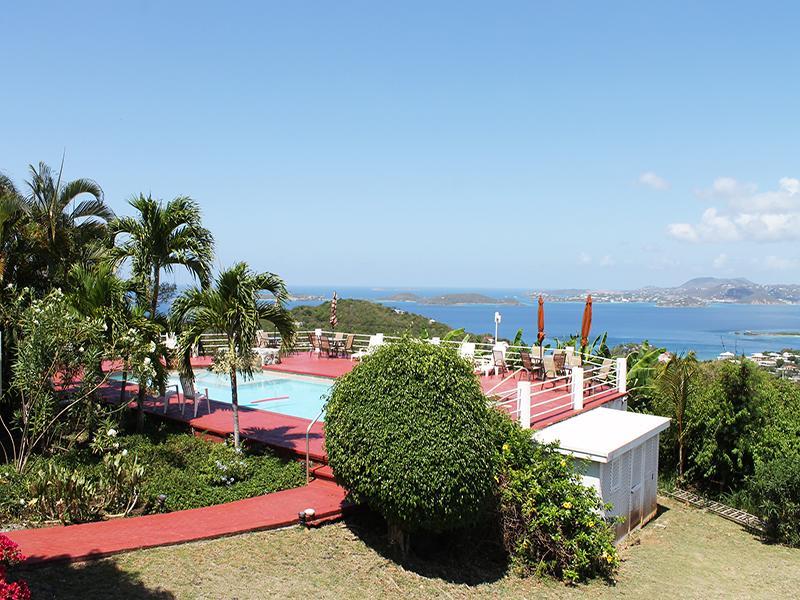 Sunset Ridge Villa B overlooks the pool with beautiful ocean views - Sunset Ridge Villa B - Cruz Bay - rentals