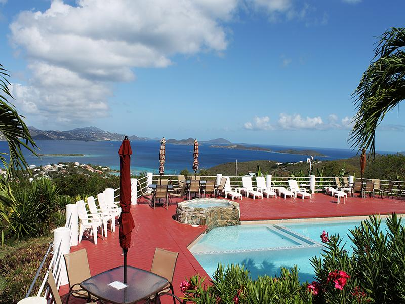 Sunset Ridge Villa C overlooks the pool with beautiful ocean views - Sunset Ridge Villa C - Cruz Bay - rentals