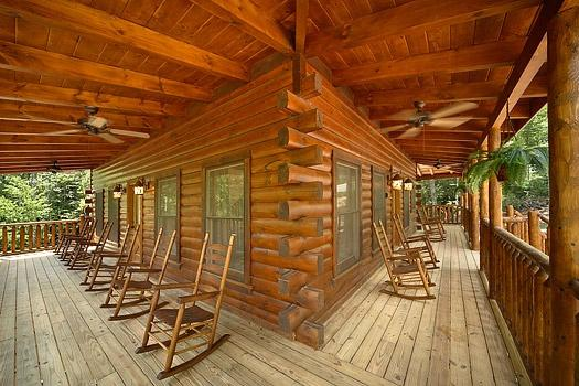 Front and Side Decks with Rocking Chairs at Pool House - POOL HOUSE - Gatlinburg - rentals