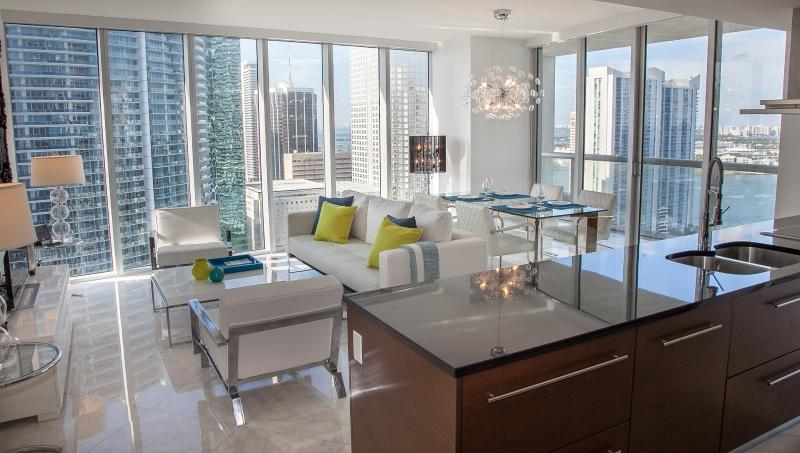 Water views from floor to ceiling windows: Miami River and Biscayne Bay - CORNER CONDO, OCEAN & RIVER VIEWS, W HOTEL RESIDENCES, FREE SPA, WIFI. BRICKELL - Brickell - rentals