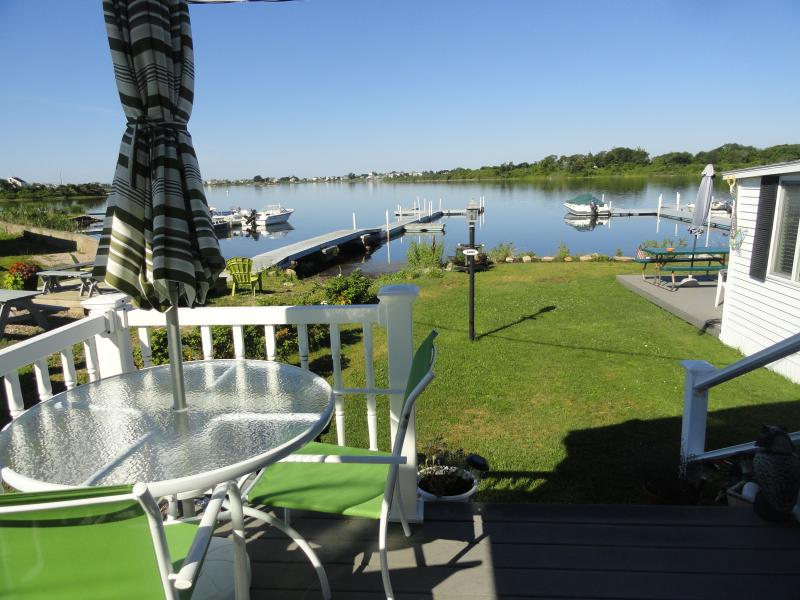 Waterfront view from half covered deck. - R.I Waterfront by E. Matunuck Beach & Narragansett - South Kingstown - rentals