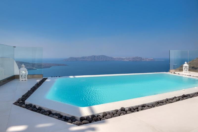 Outdoor infinity pool - Blue Villas | Jeanette| Luxury villa in Fira - Fira - rentals