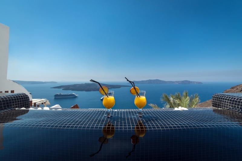 Infinity Pool - Blue Villas| Jeannine |Minimal Style Luxury Villa - Fira - rentals