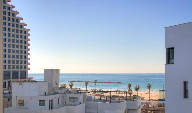 Suite-SeaView - view from main bedroom window - 1 Min. to the Beach-55m2-Free Parking & WiFi-Cview - Tel Aviv - rentals