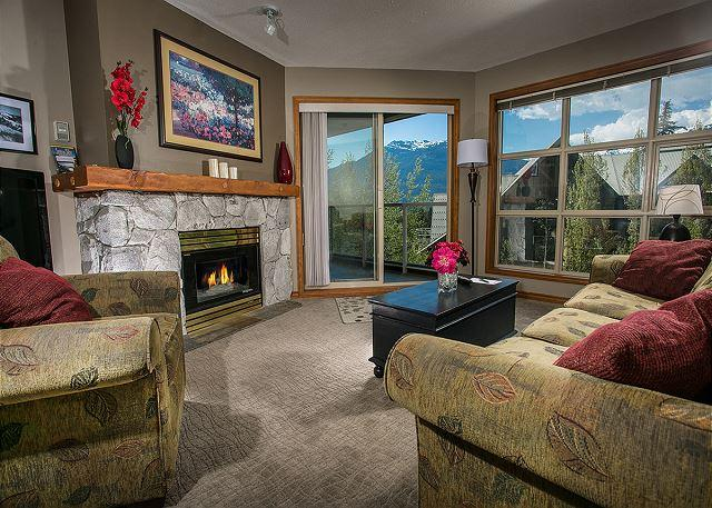 Living Room - Aspens #458, prime ski-in, ski-out, 2 bdrm with bright pool view - Whistler - rentals