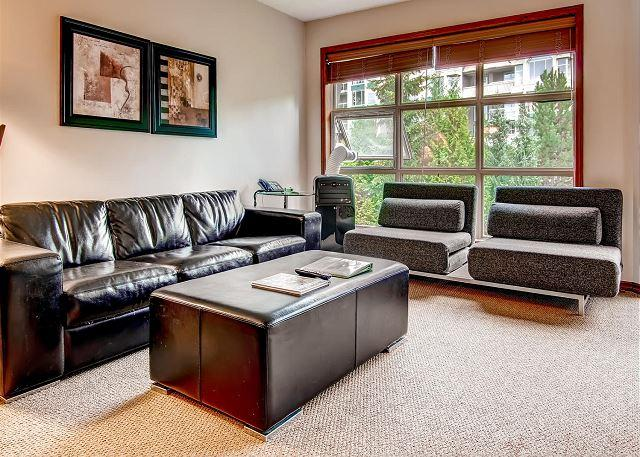Living Room - Aspens #549, Top Floor 2 Bdrm, Ski in Ski out, Mountain View, Free Wifi, BBQ - Whistler - rentals