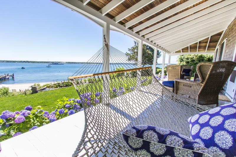 Porch Overlooks Yard and Beach Area - JEWER - West Chop Waterfront,  Private Beach on Sound and Private Beach Rights to Hancock Beach one of the Vineyards most Gorgeous Ocean Beaches. - Vineyard Haven - rentals